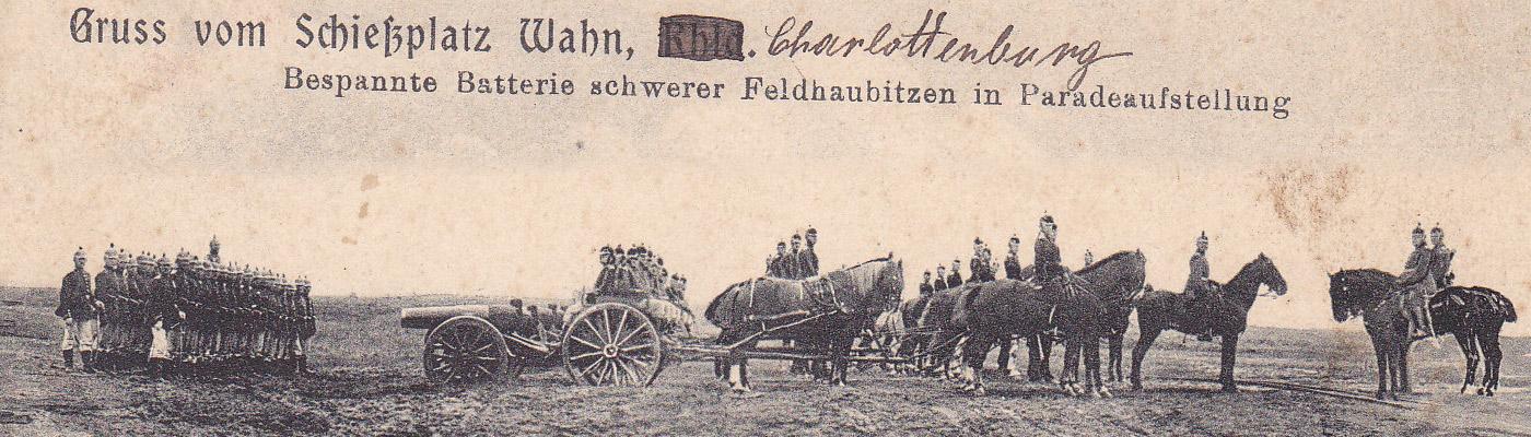 Postkarte 1907 mit Grüßen vom Schiessplatz Wahn